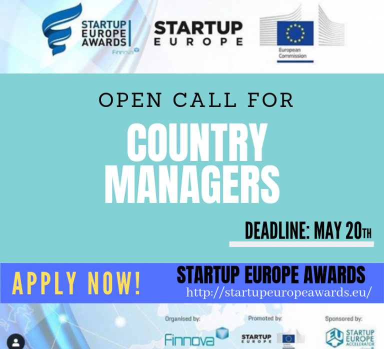 StartUp Europe Awards 2019: Call for Country Managers